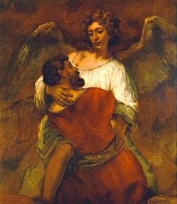 Rembrandt,La-lutte-de-Jacob-et-de-l'Ange-(17e)---